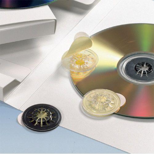 CD-Klemmstern schwarz, selbstklebend, VPE 100 Stk.