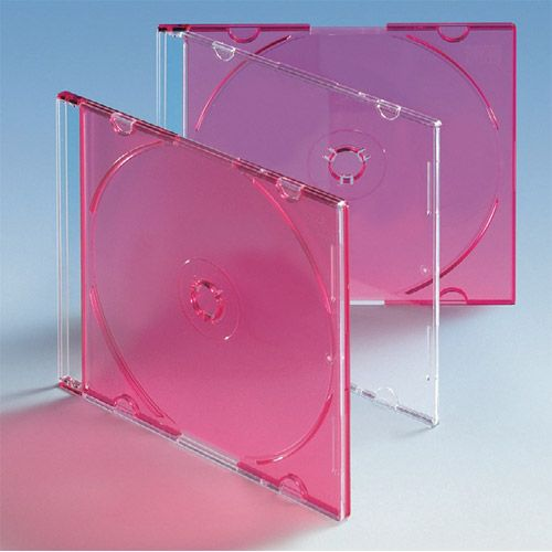 Slim Box mit Rücken rot transparent, VPE 50 Stk.