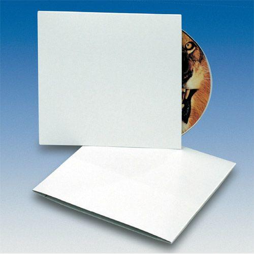 Kartonstecktasche für 12cm CDs, weiß unbedruckt, VPE 100 Stk.